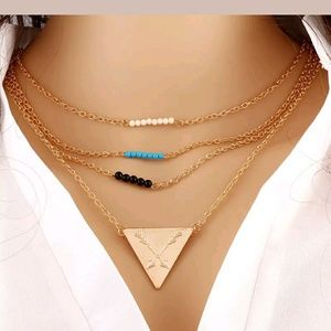 Boho trend arrow 3 tiered necklace